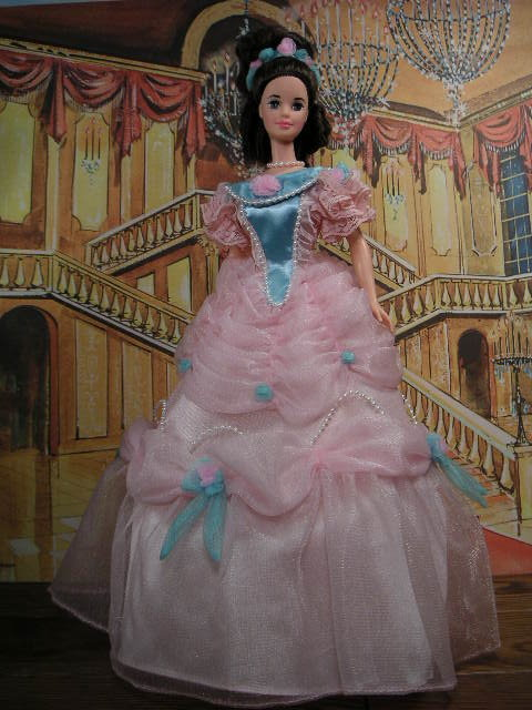 Representing the late 19th century, Barbie is stunning in her hoop skirted